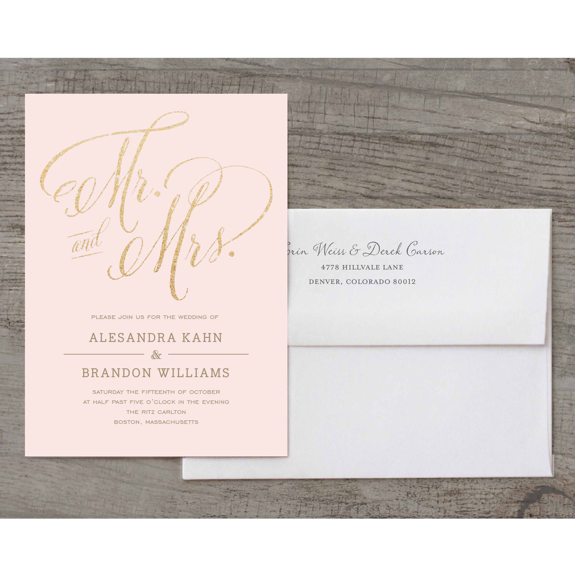Mr and Mrs Deluxe Wedding Invitation