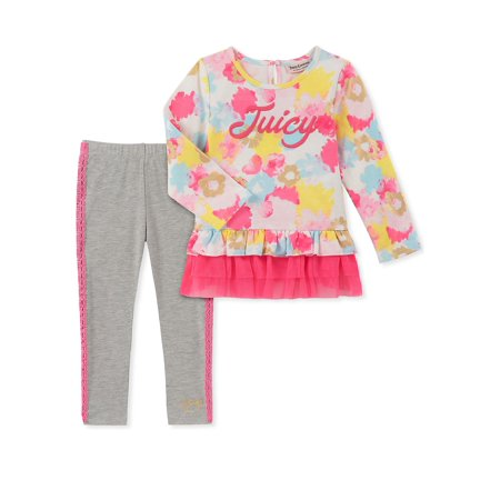 - Little Girl's Two-Piece Floral Tunic and Leggings Set
