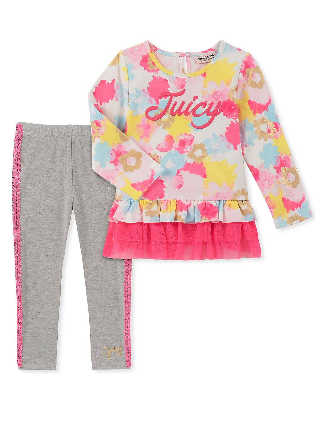 Little Girl's Two-Piece Floral Tunic and Leggings Set