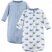 Hudson Baby Infant Boy Cotton Long-Sleeve Wearable Sleeping Bag, Sack, Blanket, Blue Whales, 3-9 Months