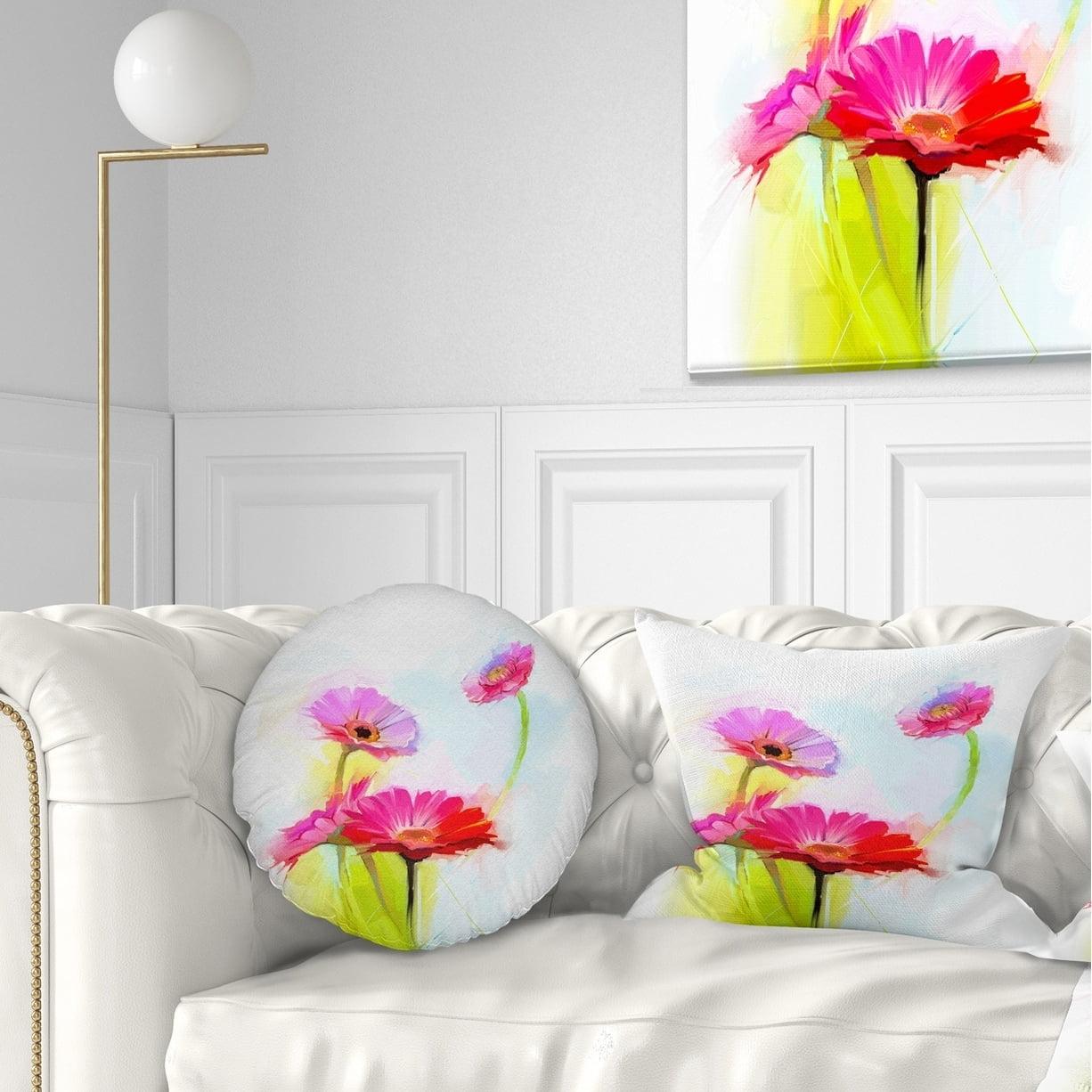 Design Art Designart Still Life Cute Red Gerbera Flowers Floral Throw Pillow Walmart Com Walmart Com