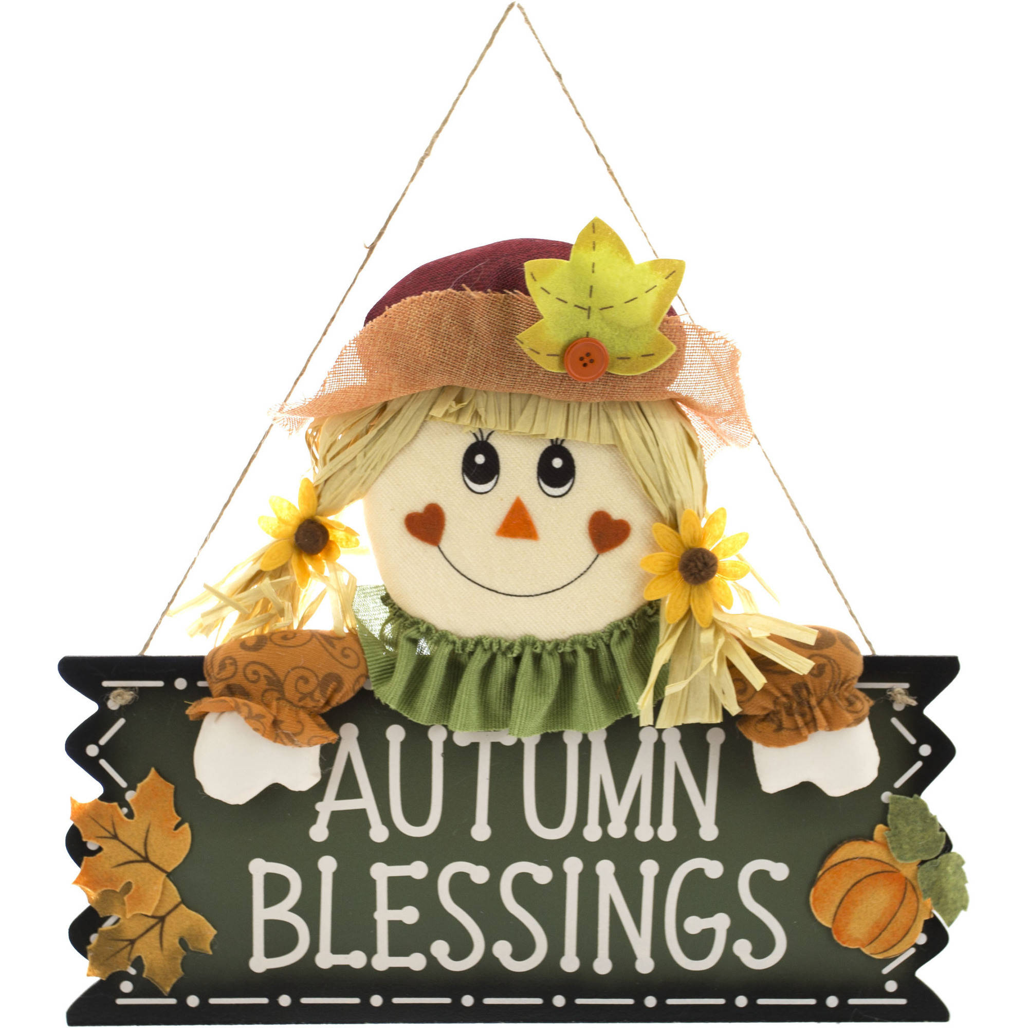 "Harvest 18"" Scarecrow Girl ""Autumn Blessings"" Wall Hang Decor Harvest Fall Decoration"