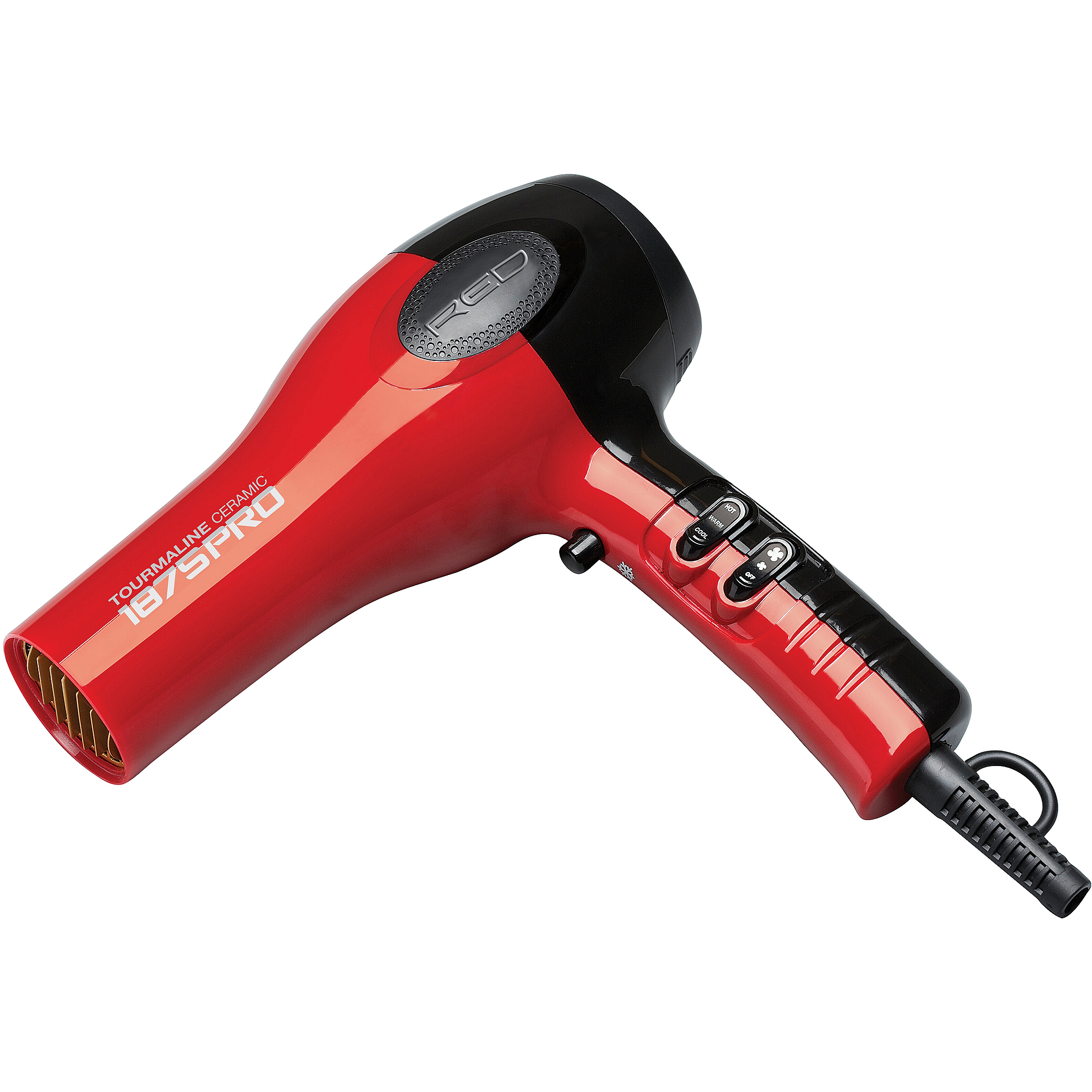 Red 1875 Pro Tourmaline Ceramic Blow Dryer with Pik Attachments