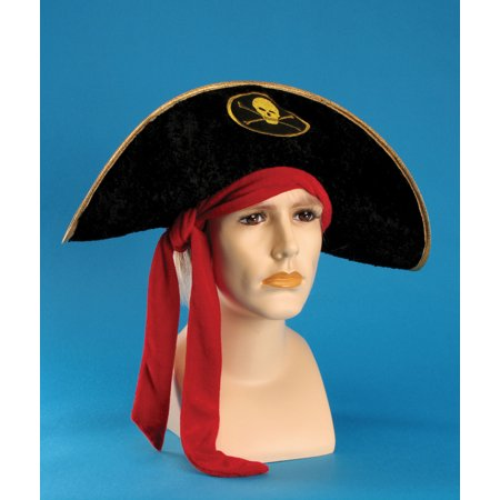 Star Power Front-Facing Pirate Costume Hat with Red Bandana, Black, One Size - Pirate Bandanas Bulk