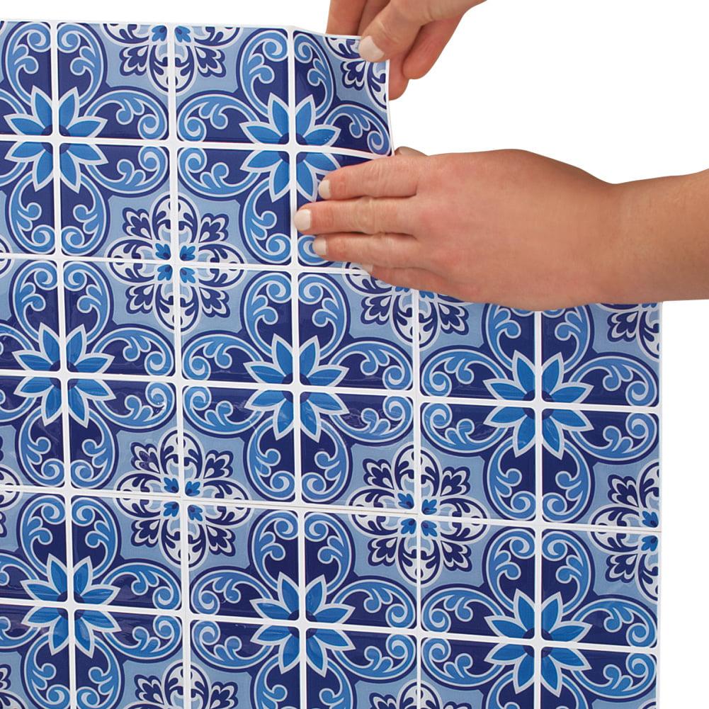 Peel and Stick Blue Mosaic Backsplash Tiles - 4 Sheets