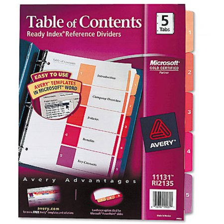 - (4 Pack) Avery Customizable Table of Contents Dividers, Ready Index Printable Section Titles, Preprinted 1-5 Multicolor Tabs, 1 Set (11131)