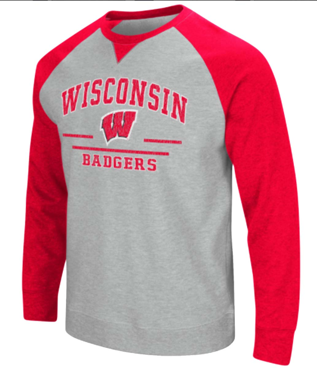 Colosseum NCAA Wisconsin Badgers Mens Turf Pullover Crew Sweatshirt by COFC10700