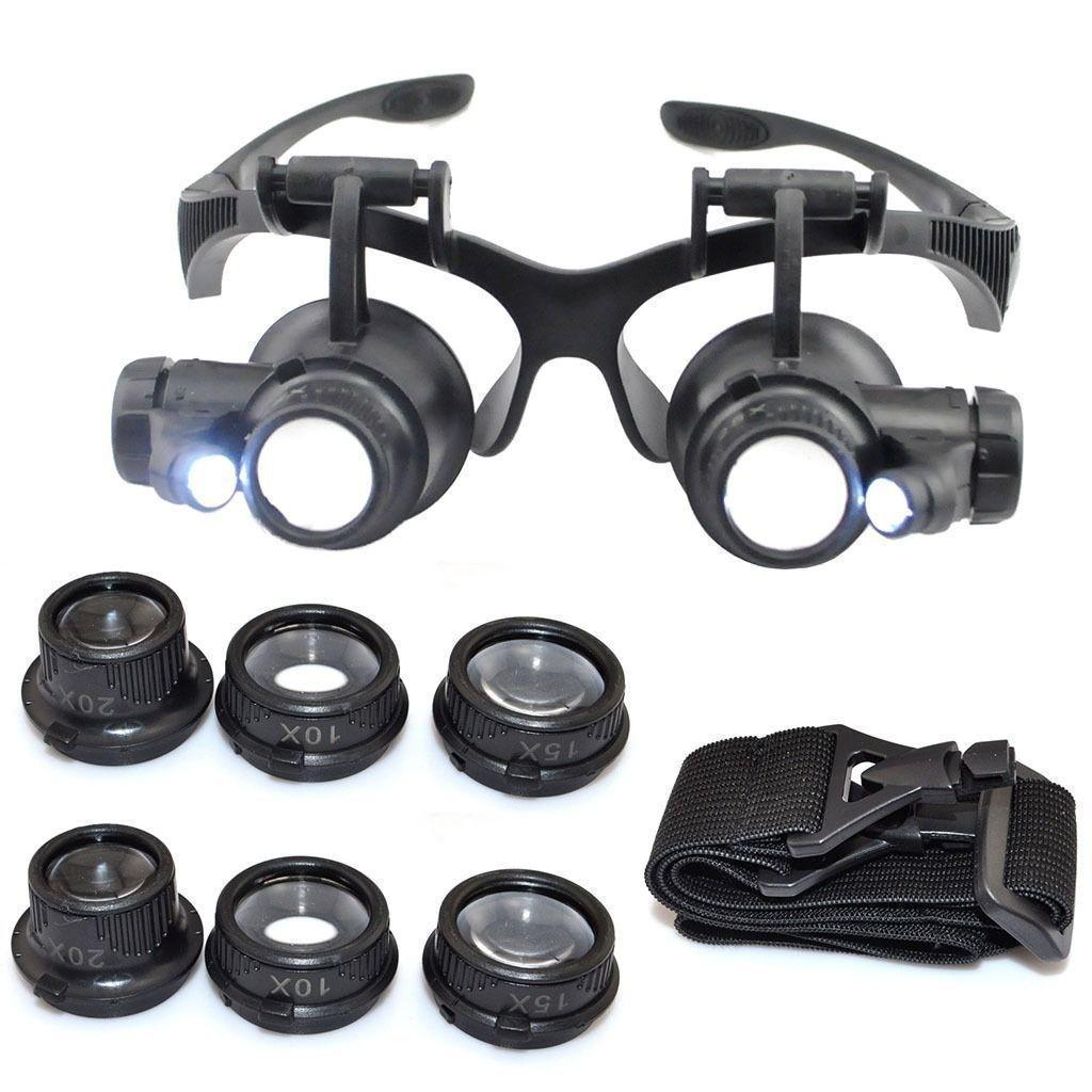 Cheap and High Quality LED Lighted Magnifying Glasses Magnifier Jeweler Head Wearing Watch Repair Loupe Headset on Sale