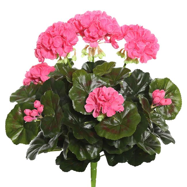Pink Geranium Floral Bush - 15.25 in.