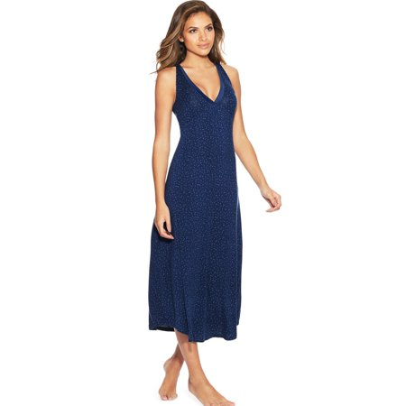 Lounge Gown (Maidenform Womens V-Neck Lounge Maxi Gown, L, Blue Scattered Dot)
