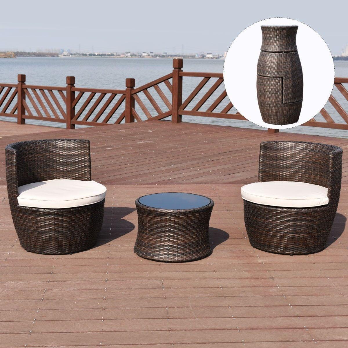 Miraculous Costway 3 Pcs Outdoor Rattan Stackable Furniture Set Chair Coffee Table Cushioned Inzonedesignstudio Interior Chair Design Inzonedesignstudiocom