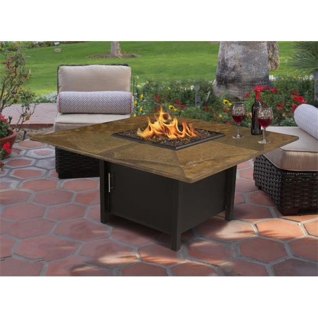 CaliforniaOutdoorConcepts 5060-BK-PG10-SLATE-42-SQ Carmel Chat Height Square Fire Pit with Black Reflective Glass & 42 in. Rusty Slate, Black