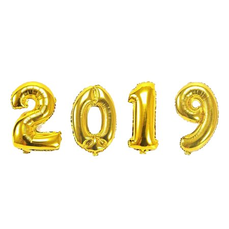 Gold Number Balloons (2019 New Year Number Foil Balloon Gold Silver Party)