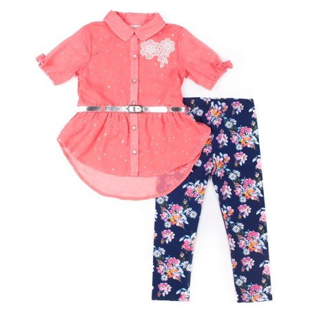 Short Sleeve Disco Dot Chiffon Blouse & Floral Leggings, 2-Piece Outfit Set (Baby Girls & Toddler Girls)](Seventies Disco Outfits)