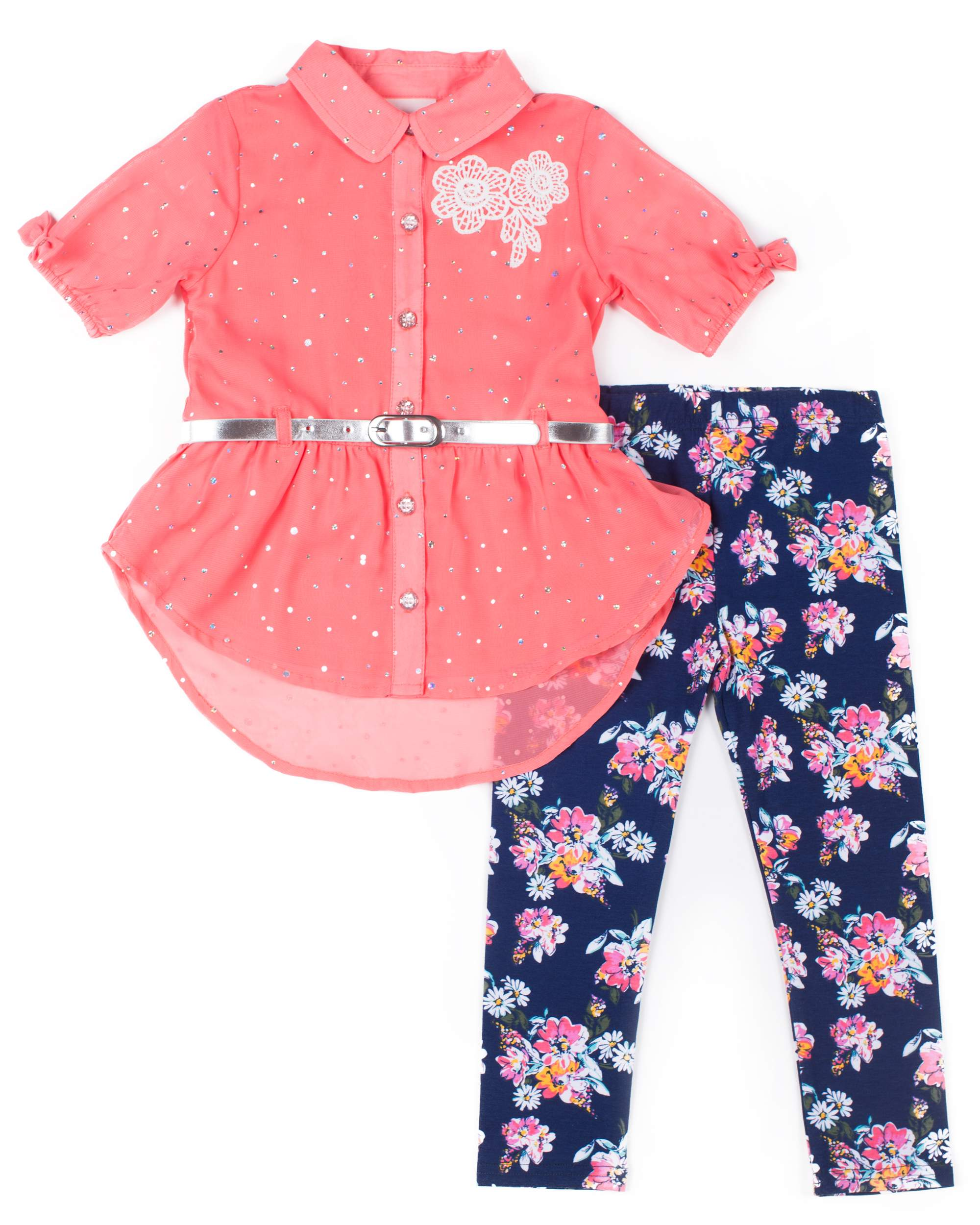 Short Sleeve Disco Dot Chiffon Blouse & Floral Leggings, 2-Piece Outfit Set (Baby Girls & Toddler Girls)