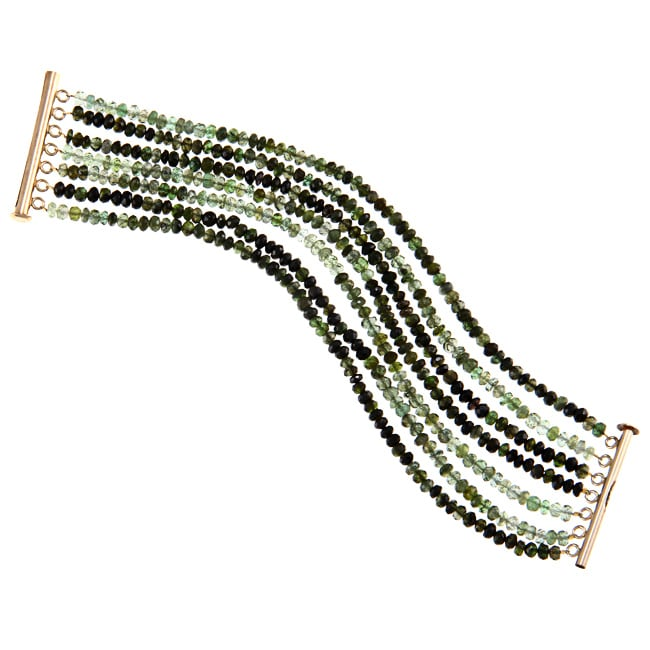 DaVonna 14k Gold over Silver Green Tourmaline 7-row Bracelet (3-4 mm) by Overstock