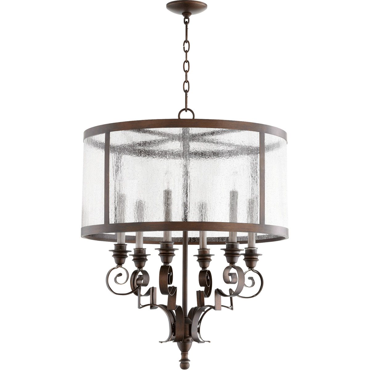 Chandeliers 6 Light With Vintage Copper Finish Candelabra Base Bulbs 24 inch 360 Watts