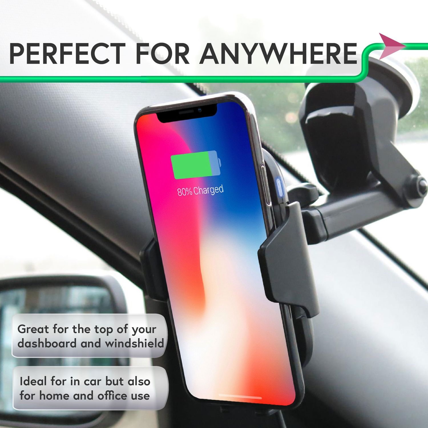 Wireless Charger Mount by Insten Motion Sensor Automatic Dashboard Window Suction & Air Vent Phone Holder Wireless Charging Pad Car Mount for iPhone X 8 Plus Samsung S9 S9+ (Free QC 3.0 Car Charger) - image 1 of 5