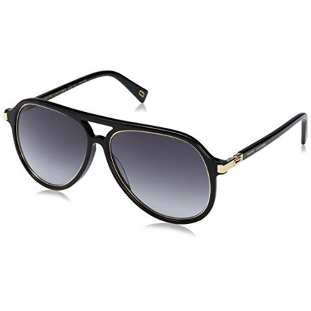 Marc Jacobs Men's Marc174s Aviator Sunglasses, Black Gold/Dark Gray Gradient, 58 mm