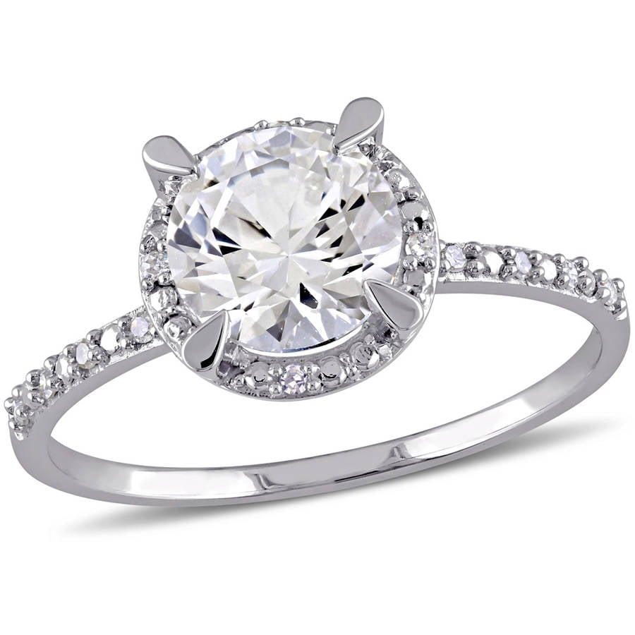 Miabella 1-5 8 Carat T.G.W. Created White Sapphire and Diamond-Accent 10kt White Gold Halo Engagement Ring by Miabella