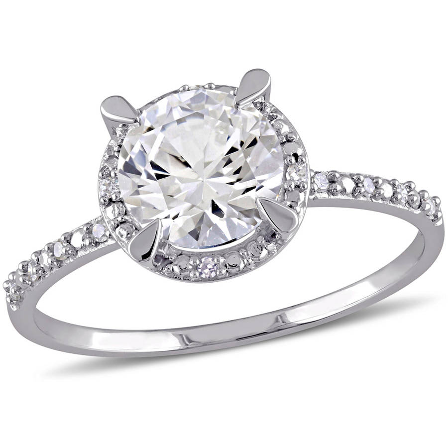 Miabella 1-5/8 Carat T.G.W. Created White Sapphire and Diamond-Accent 10kt White Gold Halo Engagement Ring