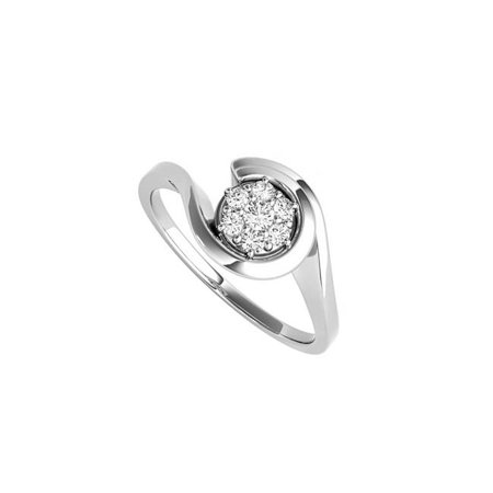 0.10CT Cubic Zirconia Swirl Engagement Sterling Silver Ring, Size 6 - image 1 of 1