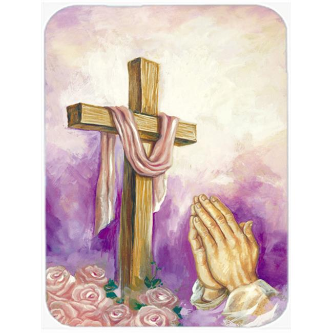 Easter Cross with Praying Hands Mouse Pad, Hot Pad or Trivet