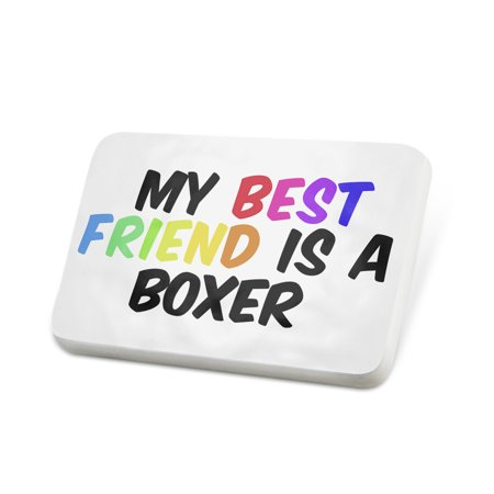 Porcelein Pin My best Friend a Boxer Dog from Germany Lapel Badge –