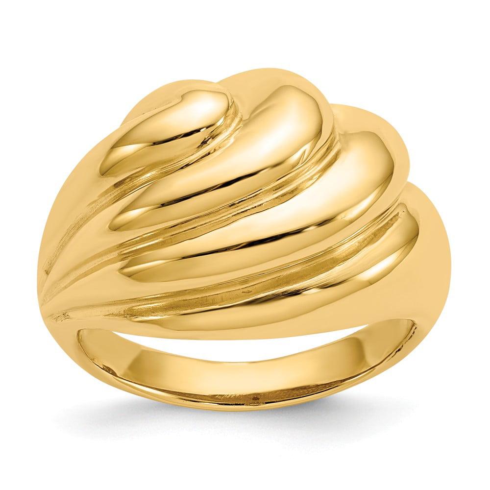 Mia Diamonds 14k Yellow Gold Satin and Polished Twisted Hoops