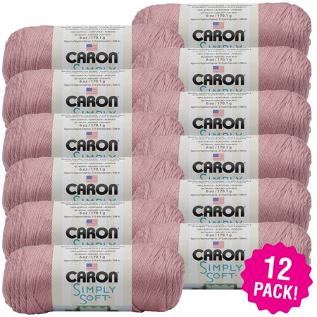- Caron Simply Soft Solids Yarn - Victorian Rose, Multipack of 12