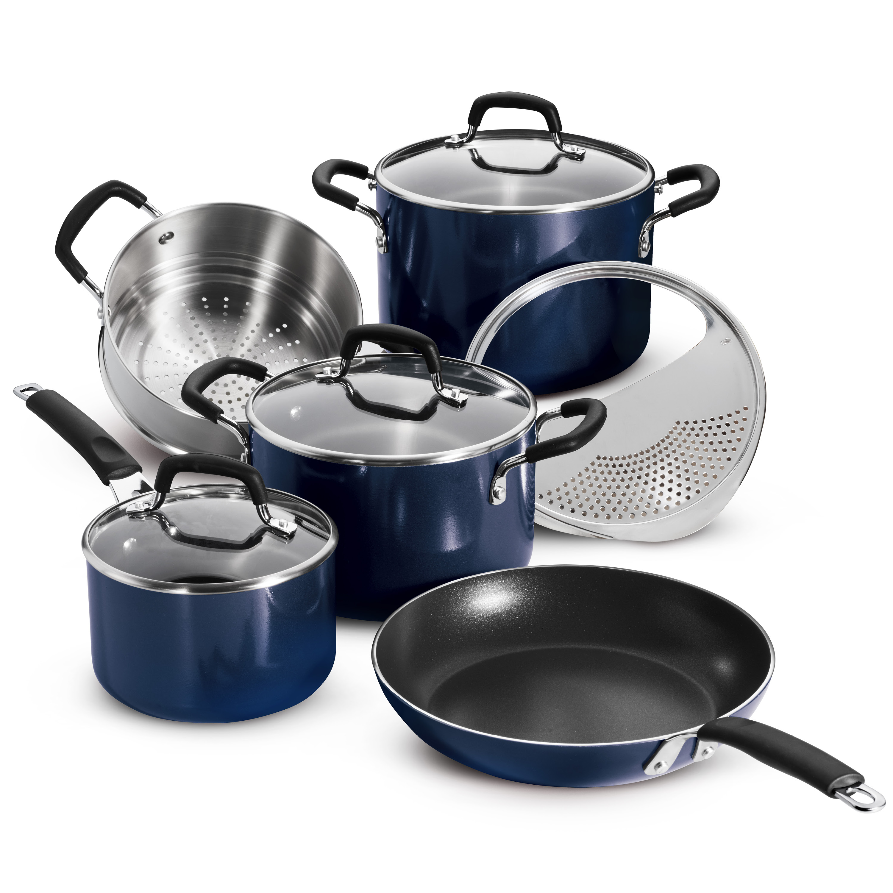 Tramontina 9 Pc Porcelain Enamel Nonstick Cookware Set - Cobalt Blue