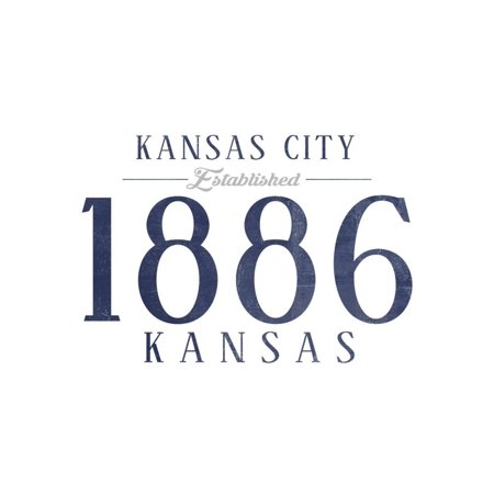Kansas City, Kansas - Established Date (Blue) Print Wall Art By Lantern Press - Halloween City Opening Date