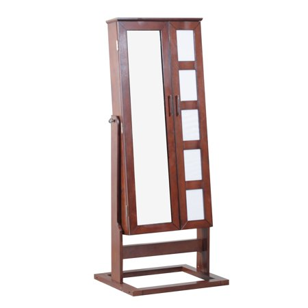 Powell Cheval Jewelry Armoire With Five Photo Display Cherry Finish