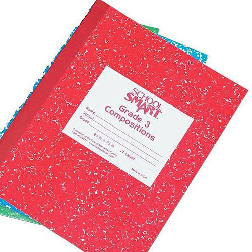 School Smart Skip-A-Line Composition Books, Grade 3, 50 sheets, Red