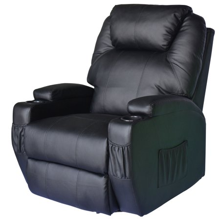 Homcom Massage Heated Pu Leather 360 Degree Swivel Recliner Chair With Remote   Black