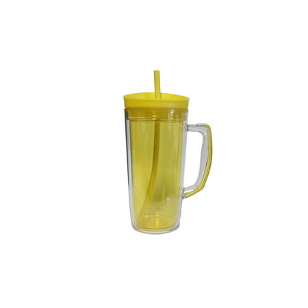 Double Wall Tumbler with Handle and Silicone Straw 37oz Shakes Iced Coffee Tea Drinks Juicing](Double Wall Tumbler)