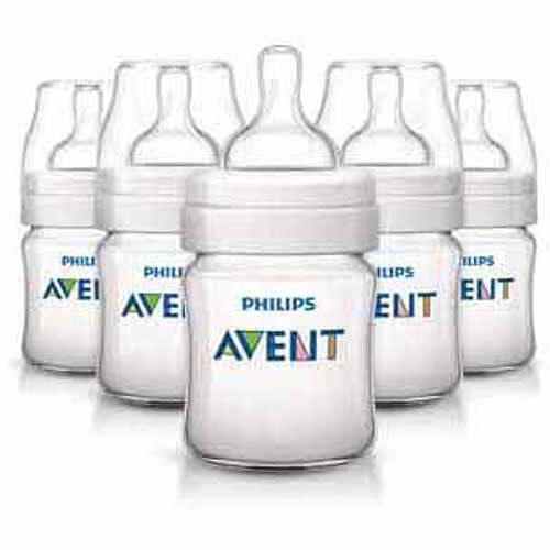 Philips AVENT Classic+ 4 Ounce Bottles, 5-Pack