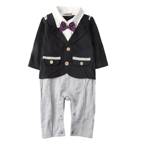Baby Tuxedo Romper (StylesILove Baby Boy Bowtie Tuxedo Romper (6-12 Months,)