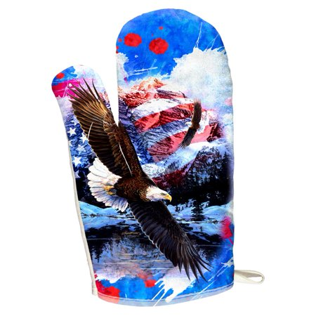 4th of July American Flag Bald Eagle Splatter All Over Oven Mitt