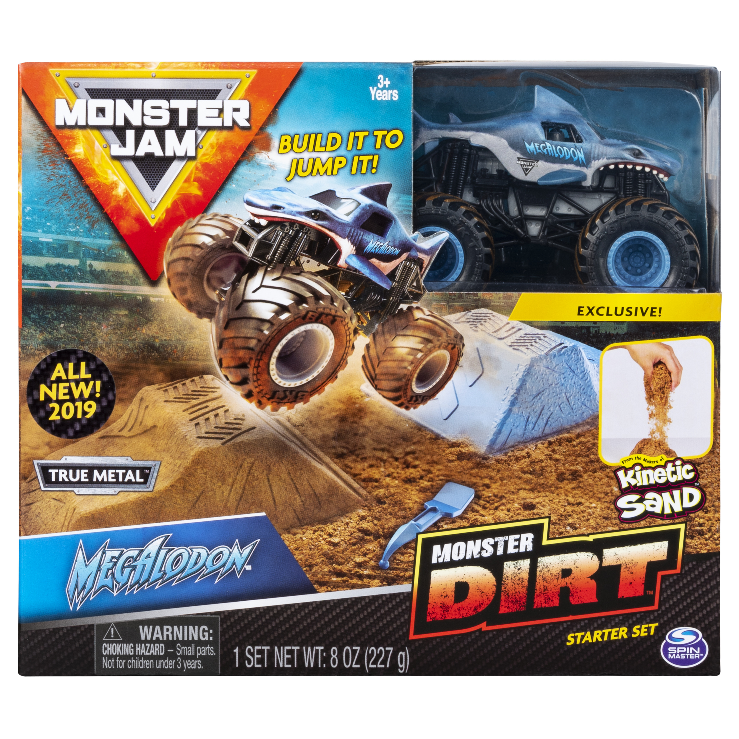 Monster Jam, Megalodon Monster Dirt Starter Set, Featuring 8oz of Monster Dirt and Official 1:64 Scale Die-Cast Monster Jam Truck