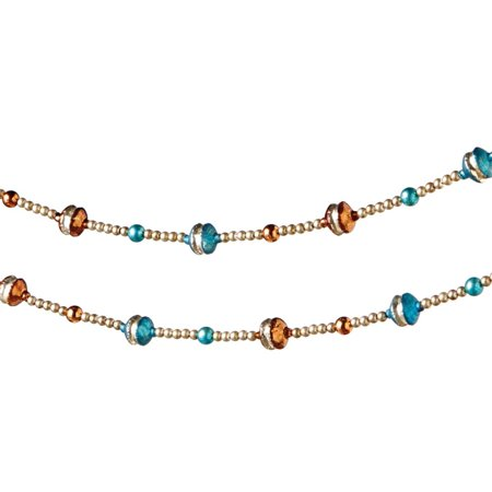 6 winter light blue gold and copper glass beaded christmas garland - Beaded Christmas Garland
