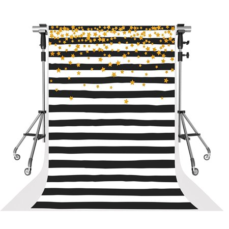 GreenDecor Polyester Fabric Birthday Party Photo Booth Backdrops Golden Stars Background Black and White Stripe Backgrounds Video 5x7ft