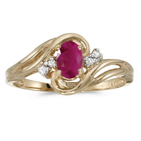 10k Yellow Gold Diamond Ruby - 10k Yellow Gold Oval Ruby And Diamond Ring