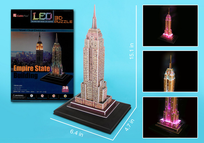 Empire State 3D Puzzle With Base & Lights 38 Pieces by