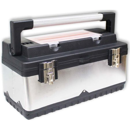 Heavy Duty Steel & Plastic Tool Box, Lift Out Tray (ToolUSA: