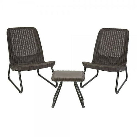 Keter Rio 3 Pc All Weather Outdoor Patio Garden Conversation Chair and Table Set Furniture, Brown ()