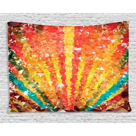 Diamond Decor Tapestry, Pop Art Diamond Sun Rays Beams Stripes Nature Rainbow Design Groovy Graphic, Wall Hanging for Bedroom Living Room Dorm Decor, 80W X 60L Inches, Orange Red, by - Stripes Design Diamond