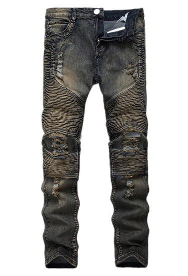 DYMADE Men's Fashion Street Biker Denim Jean Ripped Slim Fit Pants