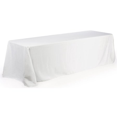 White Tablecloth Completely Covers 4 Sides Of An 8 Foot
