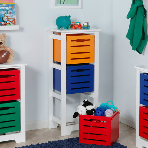 RiverRidge Kids Cool Colors 3-Bin Storage Cabinet by Sourcing Solutions - RiverRidge
